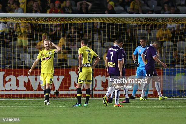 Connor Pain of the Mariners in goal during the round eight ALeague match between the Central Coast Mariners and the Perth Glory at Central Coast...