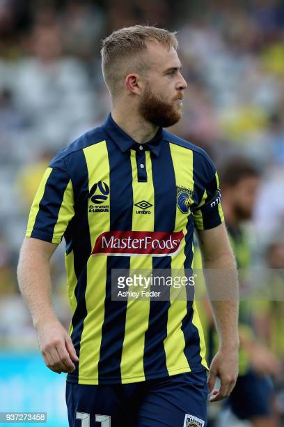 Connor Pain of the Mariners looks on during the round 24 ALeague match between the Central Coast Mariners and Sydney FC at Central Coast Stadium on...