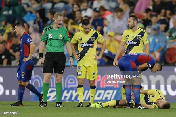 Connor Pain of the Mariners on the ground during the round 15 ALeague match between the Newcastle Jets and the Central Coast Mariners at McDonald...
