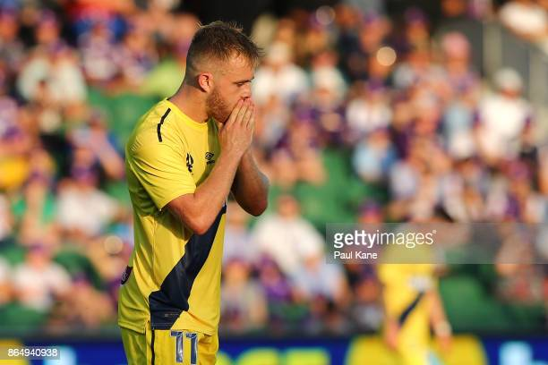 Connor Pain of the Marinersreacts after misisng a shot on goal during the round three ALeague match between Perth Glory and the Central Coast...