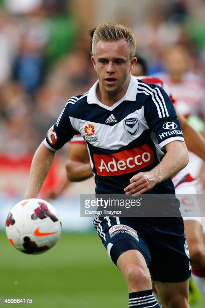 Connor Pain of the Victory chases the ball during the round 12 ALeague match between Melbourne Victory and the Western Sydney Wanderers at AAMI Park...