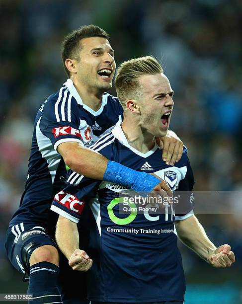 Connor Pain of the Victory is congratulated by Kosta Barbarouses after scoring a goal during the round four ALeague match between the Melbourne...