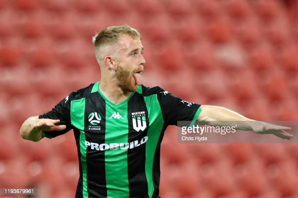 Connor Pain of Western United celebrates a goal during the round 10 A-League match between the Brisbane Roar and Western United at Suncorp Stadium on...