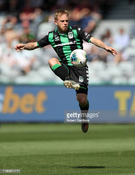 Connor Pain of Western United controls the ball during the round nine A-League match between Western United and Melbourne Victory at GMHBA Stadium on...