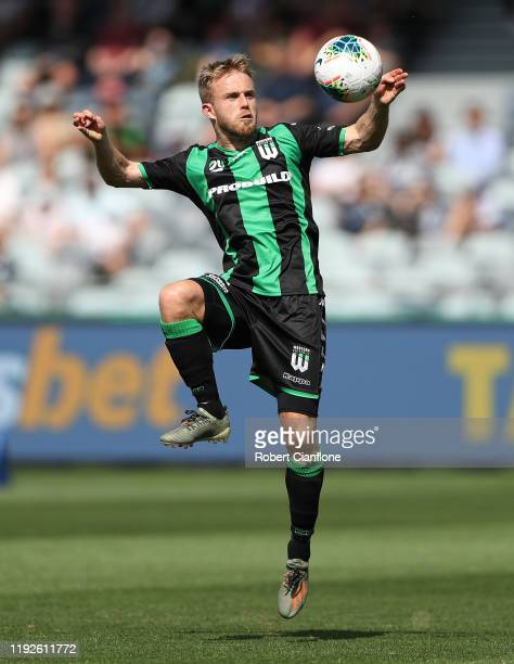 Connor Pain of Western United controls the ball during the round nine ALeague match between Western United and Melbourne Victory at GMHBA Stadium on...