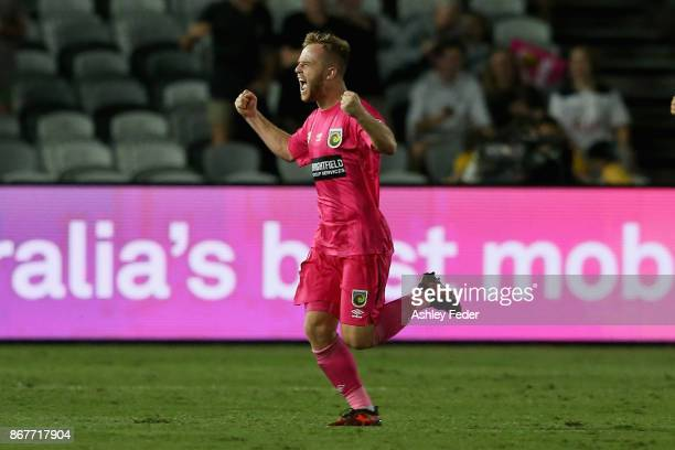 Connor Pain on the Mariners celebrates his goal with team mate Joshua Rose of the Mariners during the round four ALeague match between the Central...