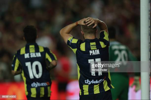 Connor Pain reacts to a near miss at goal during the round 11 ALeague match between the Central Coast and the Western Sydney Wanderers at Central...