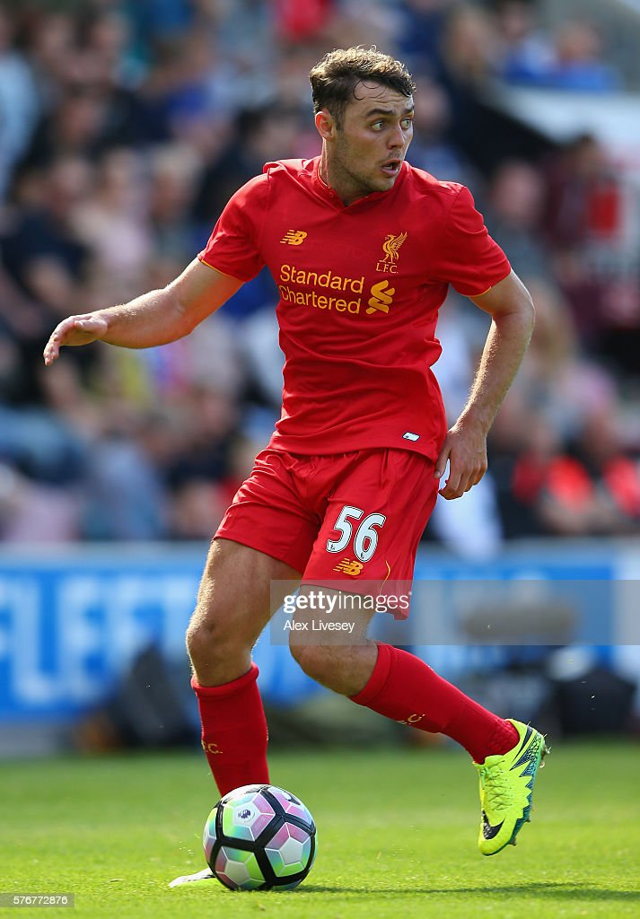 Connor Randall of Liverpool controls the ball during a pre-season friendly between Wigan Athletic and Liverpool at JJB Stadium on July 17, 2016 in Wigan, England.