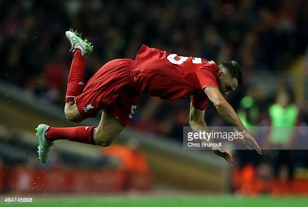 Connor Randall of Liverpool flies through the air during the Capital One Cup Fourth Round match between Liverpool and AFC Bournemouth at Anfield on...