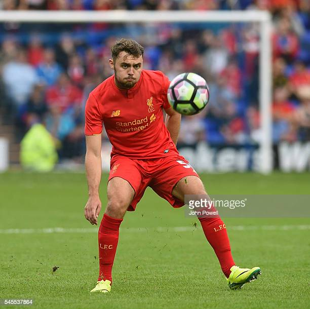 Connor Randall of Liverpool in action during a PreSeason Friendly match between Tranmere Rovers and Liverpool at Prenton Park on July 8 2016 in...