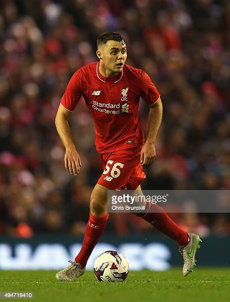 Connor Randall of Liverpool in action during the Capital One Cup Fourth Round match between Liverpool and AFC Bournemouth at Anfield on October 28...