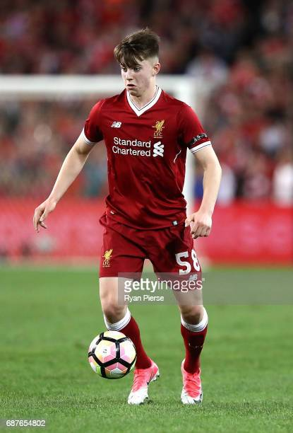 Connor Randall of Liverpool looks upfield during the International Friendly match between Sydney FC and Liverpool FC at ANZ Stadium on May 24 2017 in...