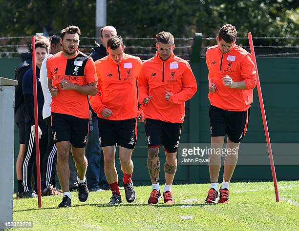 Connor RandallBrad Smith Alberto Moreno and Jon Flanagan of Liverpool during the first day back at Training in Melwood Training Ground on 1st July...