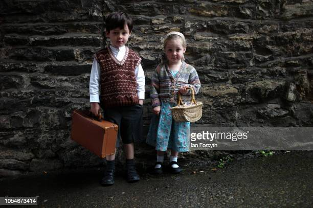 Connor Rhoden 4 and his sister Leela from Filey pose for a picture during the North Yorkshire Moors Railway 1940's Wartime Weekend event on October...