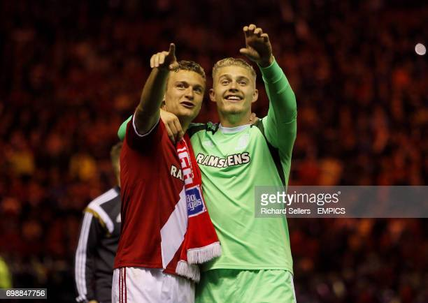 Connor Ripley and Ben Gibson acknowledge the crowd