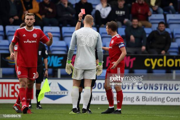 Connor Ripley of Accrington Stanley gets sent off in the first half during the Sky Bet League One match between Shrewsbury Town and Accrington...