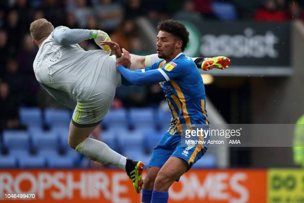 Connor Ripley of Accrington Stanley goes into Lee Angol of Shrewsbury Town with a high foot which resulted in him being sent off in the first half...