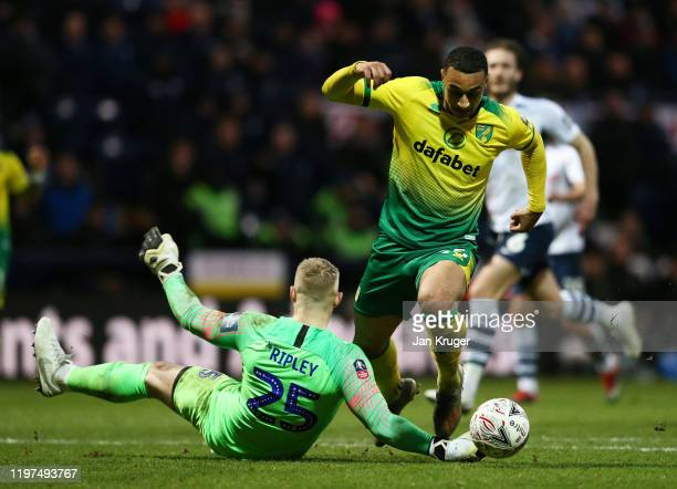 Connor Ripley of Preston North End tackles Adam Idah of Norwich resulting in a penalty during the FA Cup Third Round match between Preston North End...