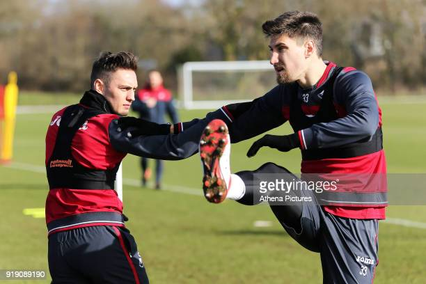 Connor Roberts and Federico Fernandez in action during the Swansea City Training at The Fairwood Training Ground on February 15 2018 in Swansea Wales