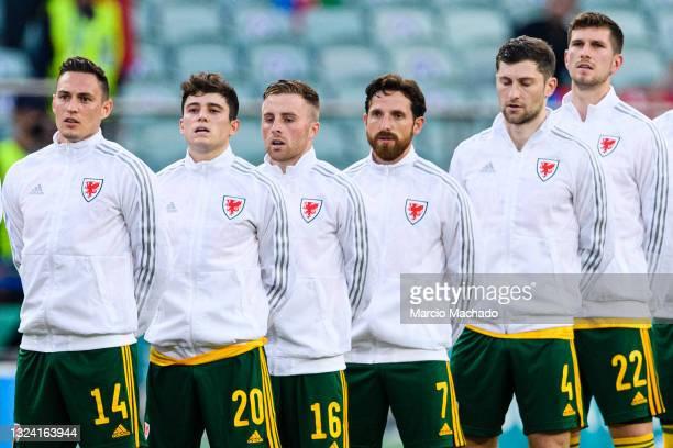 Connor Roberts, Daniel James, Joe Morrell, Joe Allen, Ben Davies and Christopher Mepham of Wales during the UEFA Euro 2020 Championship Group A match...
