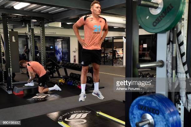 Connor Roberts exercises in the gym during the Swansea City Players Return to PreSeason Training at The Fairwood Training Ground on July 02 2018 in...