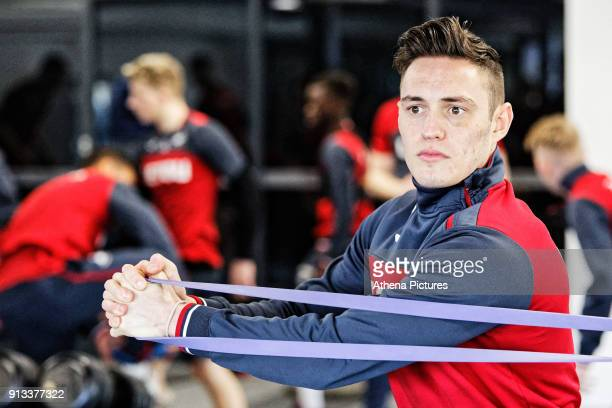 Connor Roberts exercises in the gym during the Swansea City Training and Press Conference at The Fairwood Training Ground on February 01 2018 in...