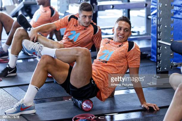 Connor Roberts exercises in the gym during the Swansea City Training Session at The Fairwood Training Ground on July 03 2018 in Swansea Wales