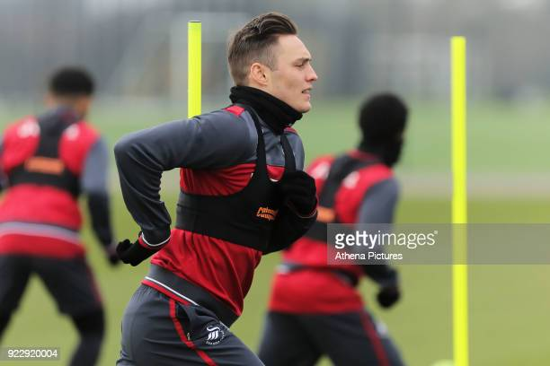 Connor Roberts in action during Swansea City training at The Fairwood Training Ground on February 21 2018 in Swansea Wales
