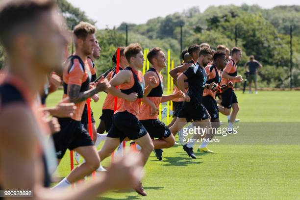 Connor Roberts in action during the Swansea City Training Session at The Fairwood Training Ground on July 03 2018 in Swansea Wales