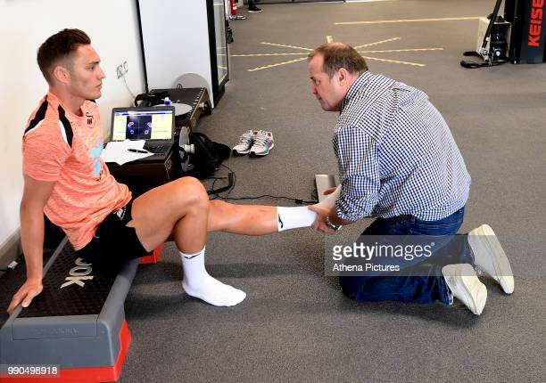 Connor Roberts is assessed during the Swansea City Players Return to PreSeason Training at The Fairwood Training Ground on July 02 2018 in Swansea...