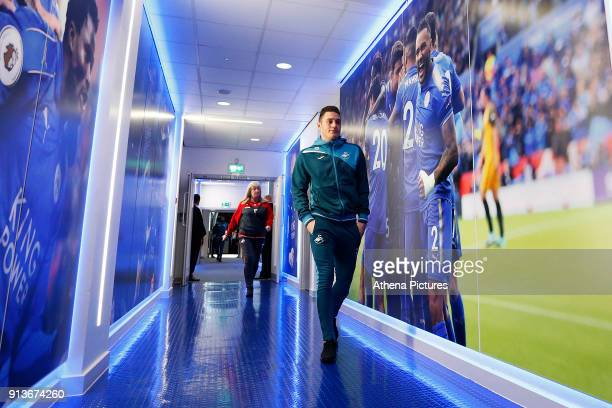 Connor Roberts of Swansea arrives at King Power Stadium prior to kick off of the Premier League match between Leicester City and Swansea City at the...
