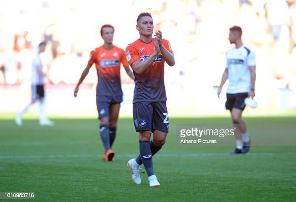 Connor Roberts of Swansea City applauds the fans at the final whistle during the Sky Bet Championship match between Sheffield United and Swansea City...