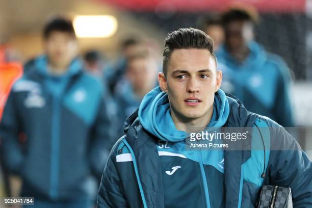 Connor Roberts of Swansea City arrives prior to the game during The Emirates FA Cup Fifth Round Replay match between Swansea City and Sheffield...