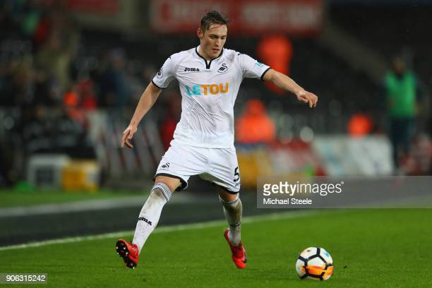 Connor Roberts of Swansea City during the Emirates FA Cup third round replay match between Swansea City and Wolverhampton Wanderers at the Liberty...