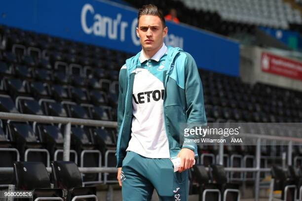 Connor Roberts of Swansea City during the Premier League match between Swansea City and Stoke City at Liberty Stadium on May 13 2018 in Swansea Wales