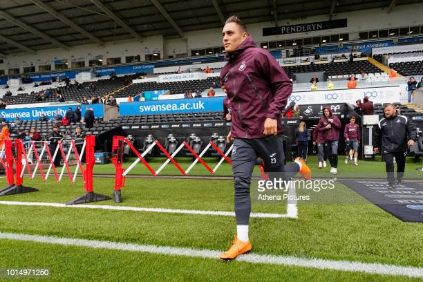Connor Roberts of Swansea City exits the tunnel to start prematch warmup prior to the Sky Bet Championship match between Swansea City and Preston...
