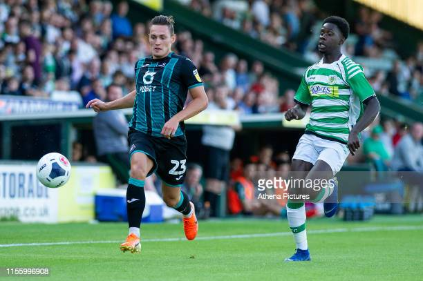 Connor Roberts of Swansea City in action during the pre season friendly match between Yeovil Town and Swansea City at Huish Park on July 16, 2019 in...