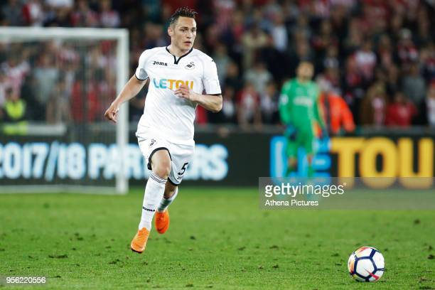 Connor Roberts of Swansea City in action during the Premier League match between Swansea City and Southampton at The Liberty Stadium on May 08 2018...