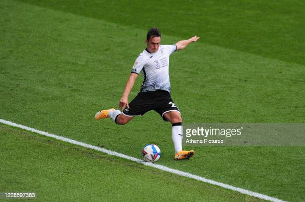 Connor Roberts of Swansea City in action during the Sky Bet Championship match between Swansea City and Birmingham City at the Liberty Stadium on...