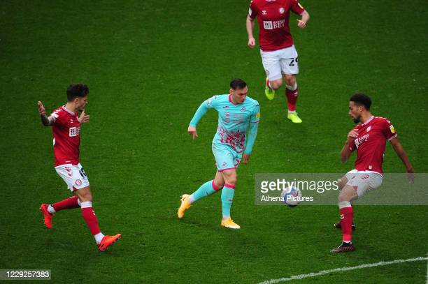 Connor Roberts of Swansea City in action during the Sky Bet Championship match between Bristol City and Swansea City at Ashton Gate on October 24...
