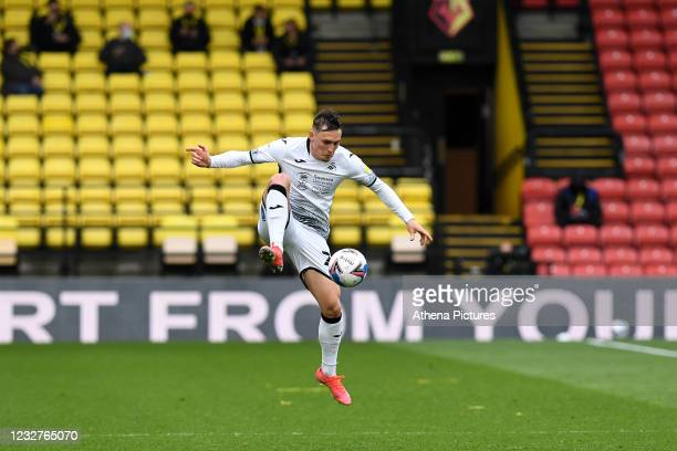 Connor Roberts of Swansea City in action during the Sky Bet Championship match between Watford and Swansea City at Vicarage Road on May 08, 2021 in...