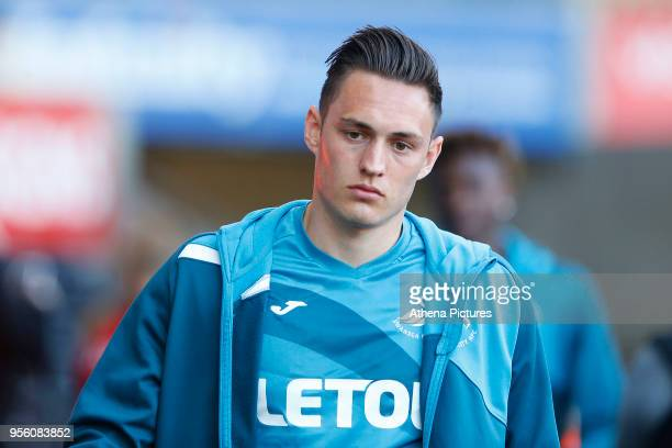 Connor Roberts of Swansea City prior to kick off of the Premier League match between Swansea City and Southampton at Liberty Stadium on May 08 2018...