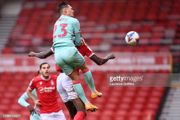 Connor Roberts of Swansea City scores their team's first goal during the Sky Bet Championship match between Nottingham Forest and Huddersfield Town...