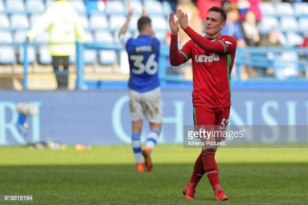 Connor Roberts of Swansea City thanks away supporters during The Emirates FA Cup Fifth Round match between Sheffield Wednesday and Swansea City at...