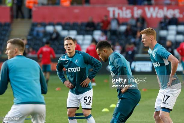 Connor Roberts of Swansea City warms up prior to the game during the Premier League match between Swansea City and Southampton at The Liberty Stadium...
