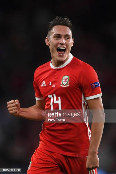 Connor Roberts of Wales celebrates after scoring his team's fourth goal during the UEFA Nations League B group four match between Wales and Republic...