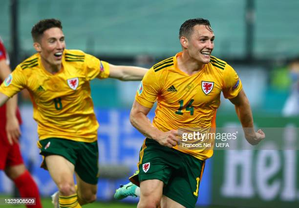 Connor Roberts of Wales celebrates after scoring their side's second goal during the UEFA Euro 2020 Championship Group A match between Turkey and...