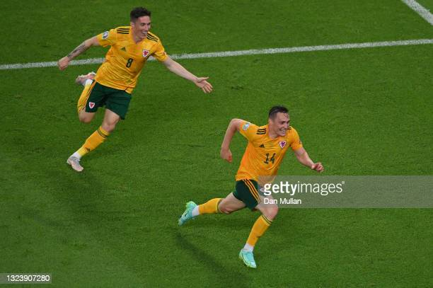 Connor Roberts of Wales celebrates with Harry Wilson after scoring their side's second goal during the UEFA Euro 2020 Championship Group A match...