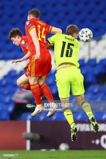 Connor Roberts of Wales fouls Tomas Soucek of Czech Republic leading to a red card being shown during the FIFA World Cup 2022 Qatar qualifying match...