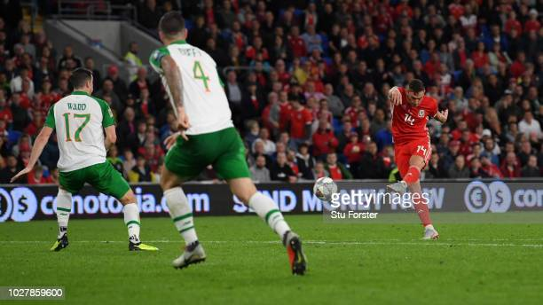 Connor Roberts of Wales scores his team's fourth goal during the UEFA Nations League B group four match between Wales and Republic of Ireland at...